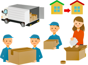 Movers helping a woman